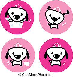 Cute female dog with crown pink icons or buttons set -...