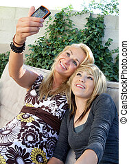 Mother and Teenage Daughter Camera