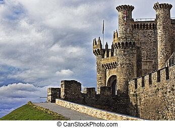 Medieval Templar Castle of year 1178 in Ponferrada, Spain