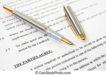 agreement between landlord and tenant - ink pen with...