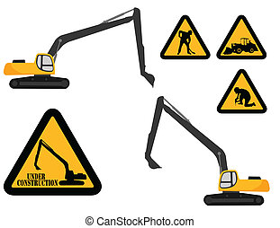 "excavator and ""under construction"" signs - vector"