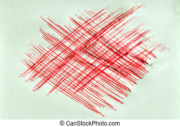Red ink scratchy background - Hand-drawn scratchy red ink...