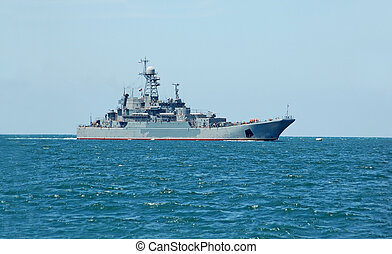 Military ship - Russias military ship and boat at Black sea,...