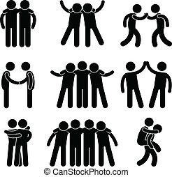 amigo, amistad, relación, equipo