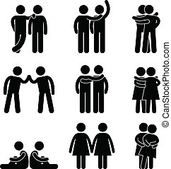 Gay Lesbian Heterosexual Icon - A set of pictogram...