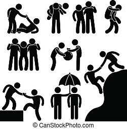 Business Friend Helping Each Other - A set of pictogram...