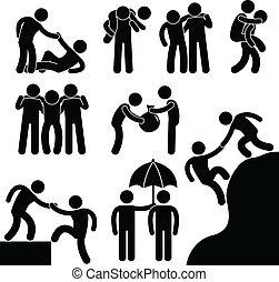 negócio, amigo, ajudando, cada, outro
