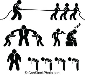 Business Worker Fighting Pictogram - A set of pictogram...