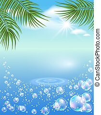 Palm tree and bubbles - Palm tree, clouds and bubbles