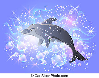 Dolphin swims in the water with air bubbles