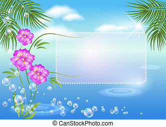Marine landscape with frame