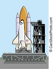 Space shuttle at launch pad - Space shuttle sits on the...