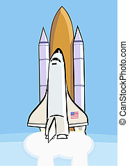 Space shuttle after launch - Space shuttle lifts off from...
