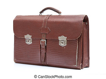Mens leather bag - Vintage mens leather bag on white...