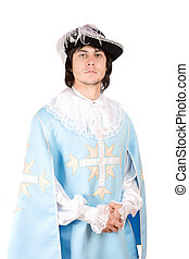 young man dressed as musketeer - Portrait of young man...