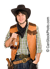 young cowboy with a bottle