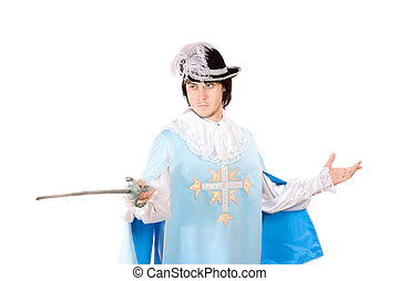 Portrait of young man with a sword dressed as musketeer....