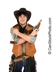 Smiling cowboy with a bottle and gun