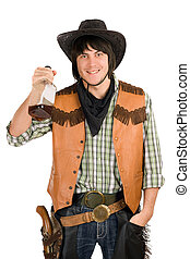 happy young cowboy with a bottle
