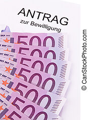 euro notes and application - many euro bank notes and...