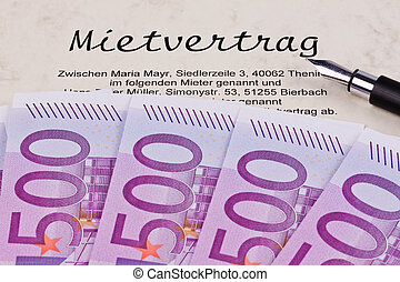 euro notes and lease - many euro bank notes and lease. with...
