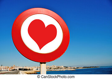 love sign - a road sign with a red heart drawn on it