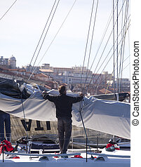 Lower the sails, Barcelona 2010, The Trieste regatta - Italy...