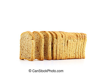 Rusk slices - Golden rusk slices on isolated white...