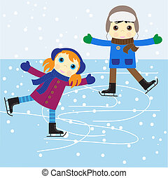 Ice skating boy and girl. vector illustration.