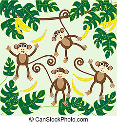 monkeys - Four cute cartoon monkeysvector illustration