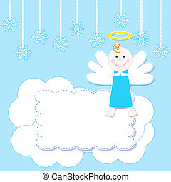 Christmas baby angel - Frame with cute Christmas baby...