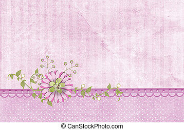 pink flower on pearl border - Pink flower on fancy pearl...