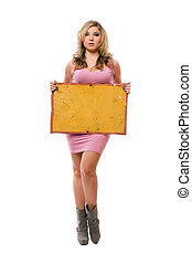 Young blonde posing with yellow board