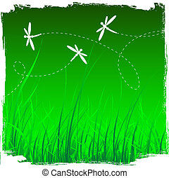 Dragonflies and grass background. vector illustration in...