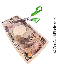 japanese yen bills currency in japan on white background