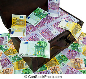 chest with euro banknotes. financial crisis,
