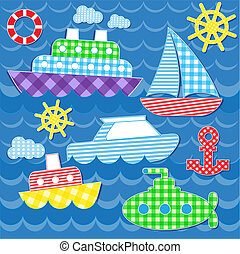 sea transport stickers - Set of vector colorful sea...