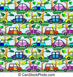 cartoon car - Cartoon car.Seamless vector pattern.