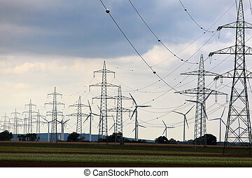 wind turbine with power poles - wind turbine in a wind park...