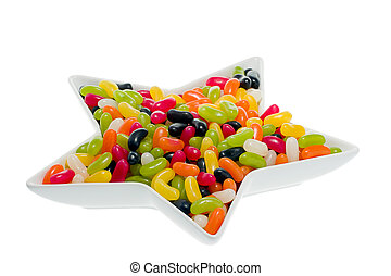 Jelly Beans  - Jelly beans  in a star shaped dish.
