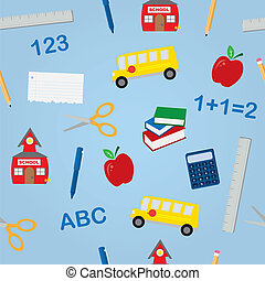 School Objects Seamless Pattern - Various school objects in...