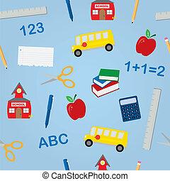 School Objects Seamless Pattern - Various school objects in...