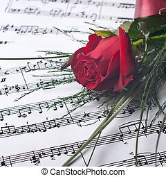 Valentines Day Concept - Red rose on notesheet,close up...
