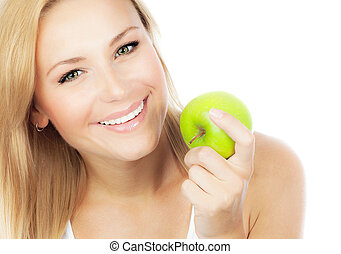 Pretty girl eating apple - Happy woman dieting, pretty girl...
