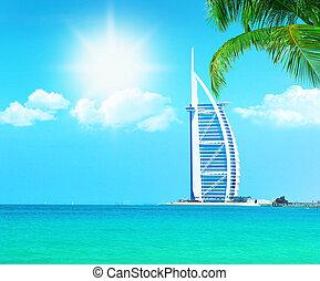 Burj Al Arab hotel on Jumeirah beach in Dubai -...