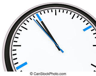Clock one minute for twelve - Clock with pointer one minute...