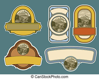 Woodcut River Scene Labels