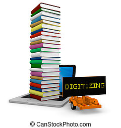 Digitization - Tall pile of colourful books on the top of a...