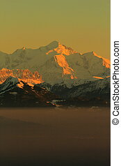 Mont-Blanc, Alps, by sunset