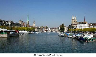 Zurich, Switzerland - Panorama of Zurich, Switzerland on the...